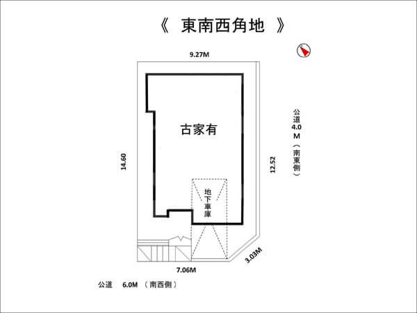 高槻市安岡寺の売地 敷地図