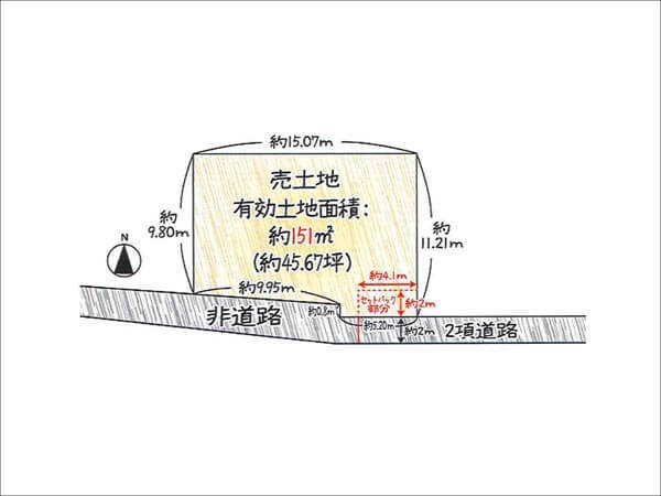 枚方市牧野本町に新築一戸建て(敷地図)