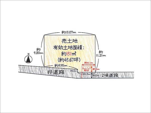 枚方市牧野本町の売地(敷地図)