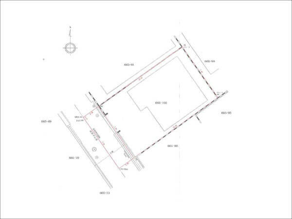 枚方市茄子作に新築一戸建て(敷地図)