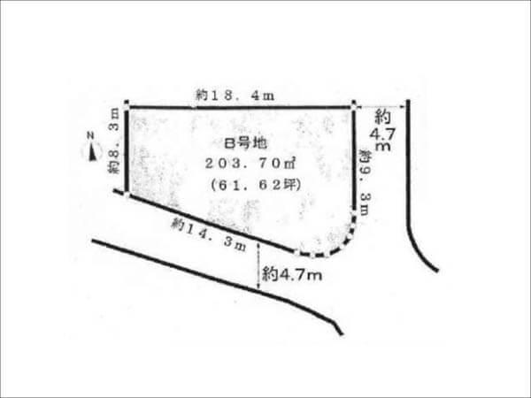 枚方市香里園山之手町の土地物件(B号地)