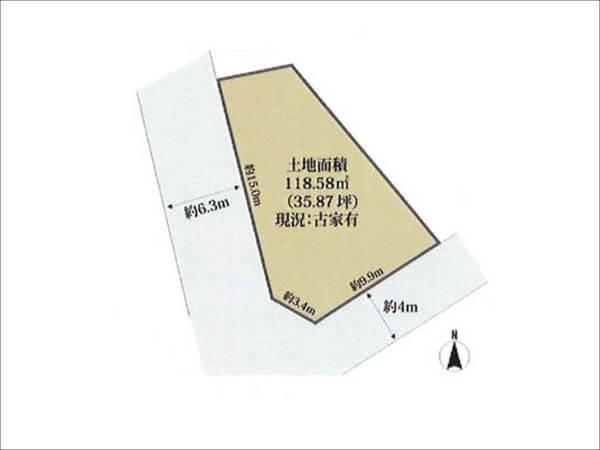 茨木市西太田町の売地(南向きの角地)
