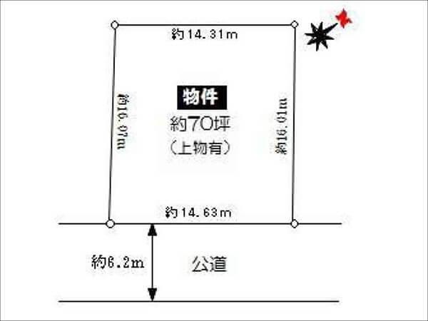 高槻市真上町に新築注文住宅(敷地図/整形地)
