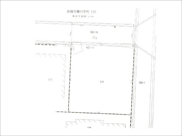 高槻市藤の里町に新築注文住宅(敷地図)