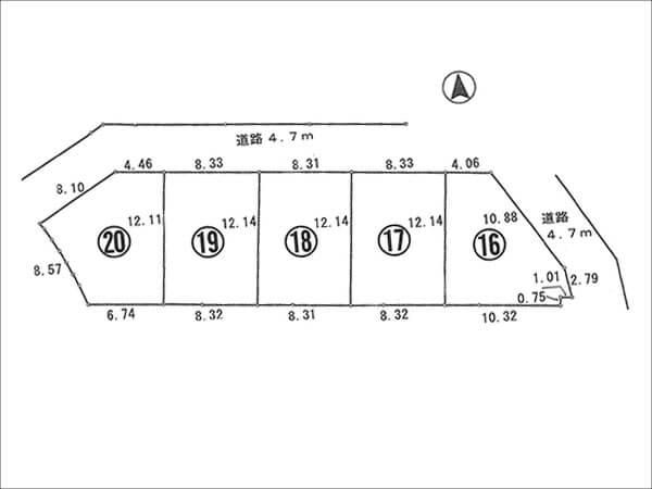 枚方市藤阪東町の5区画の分譲地