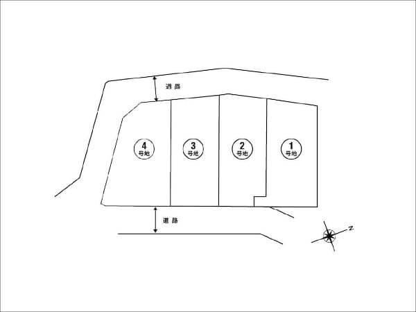 高槻市南平台に新築一戸建て(区画図)