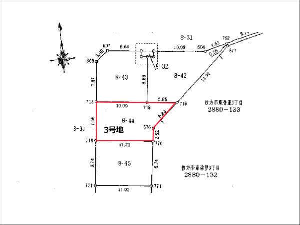 枚方市香里ケ丘10丁目の売土地(3号地:敷地面積 97.07㎡)