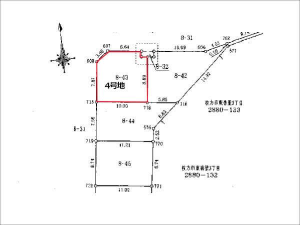 枚方市香里ケ丘10丁目の売土地(4号地:敷地面積 96.47㎡)