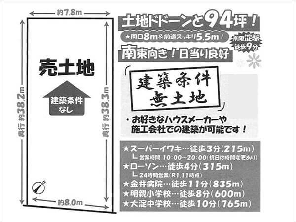 伏見区淀新町に新築一戸建て(淀駅まで徒歩9分)