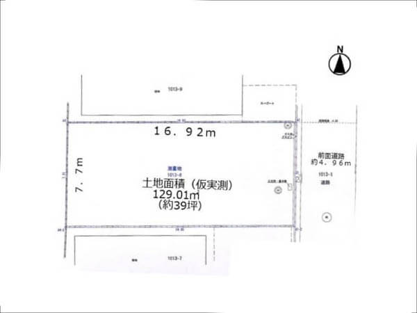 高槻市西町の売土地(敷地図)