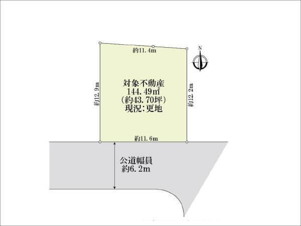 茨木市若園町に新築注文住宅(敷地図)