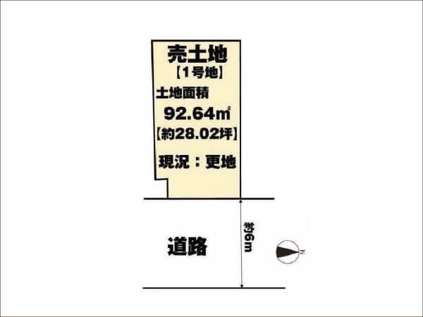 長岡京市勝竜寺巡り原に新築一戸建て(1号地の敷地図)