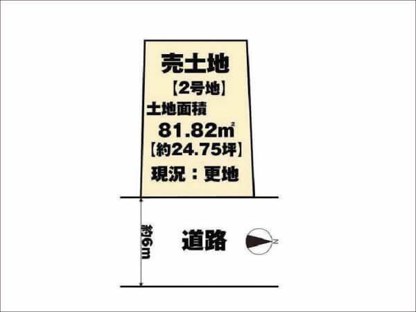 長岡京市勝竜寺巡り原に新築一戸建て(2号地の敷地図)