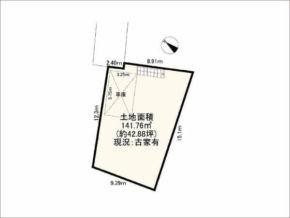 茨木市北春日丘の売土地(敷地図)