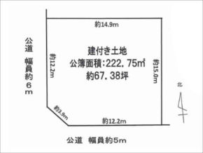 寝屋川市高宮あさひ丘の売土地(敷地図)