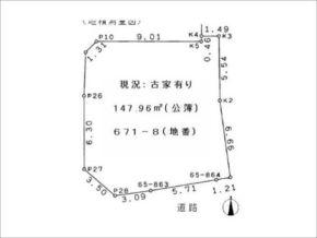 茨木市耳原の売土地(敷地図)