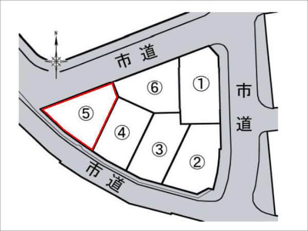 寝屋川市御幸西町の売土地(6区画分譲の5号地)