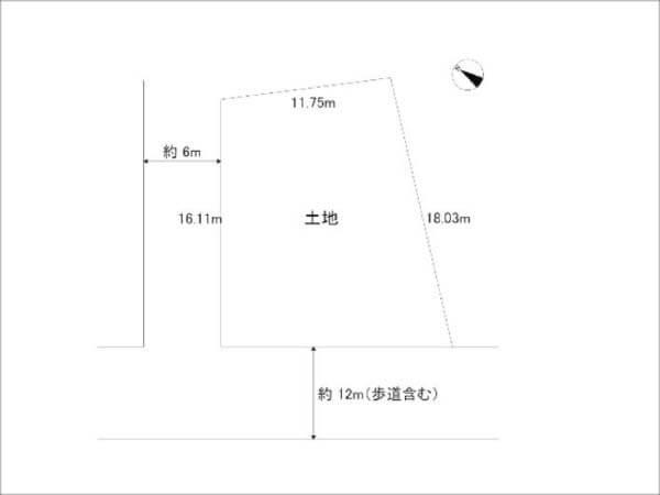四條畷市田原台の売土地(敷地図)