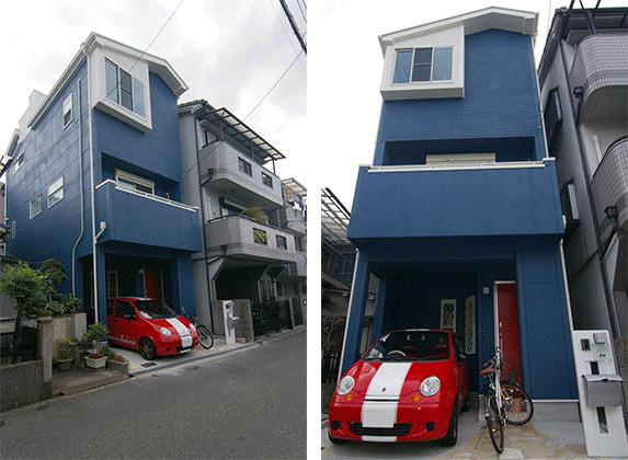 大阪N邸 – 青色に白のアクセント ペットと暮らす3階建ての家