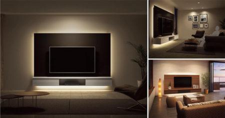 リビング空間をより洗練された印象に演出するTVボード。TVボードをフロアから浮かせて、デザインパネルにテレビを壁掛け設置するフロートタイプはいつもの何気ないテレビ観賞を優雅なひと時に変えます。