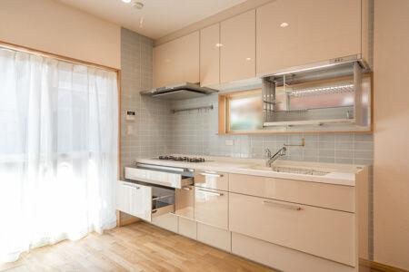 パナソニックのキッチン「ラクシーナ」。吊戸棚に電動昇降水切りを設置