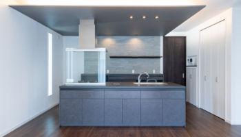 オープン対面キッチンは、「リクシルのリシェルSI(アイランド型)」