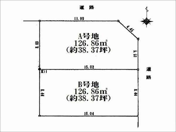 新田辺駅の新築一戸建て 分譲区画図